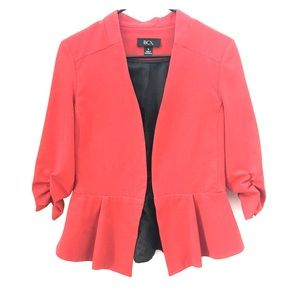 Red Blazer with 3/4 Rouched Sleeve